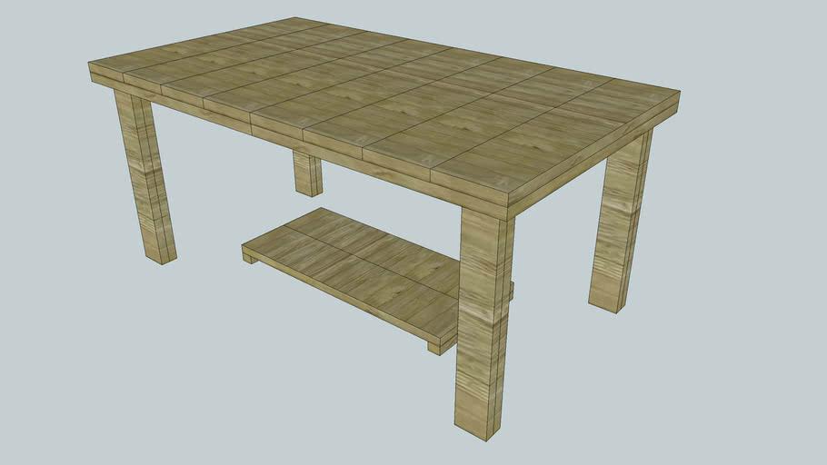 Uitschuifbare tafel van steigerhout