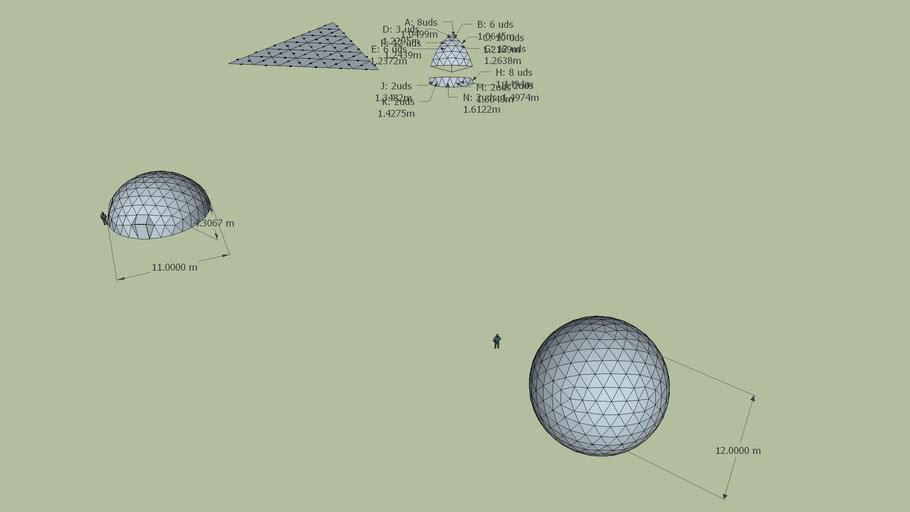 Variant of the 6v Geodesic dome 3v2v Dome