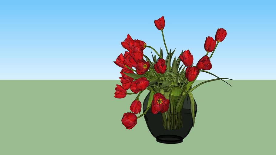 Vaso com tulipas vermelhas