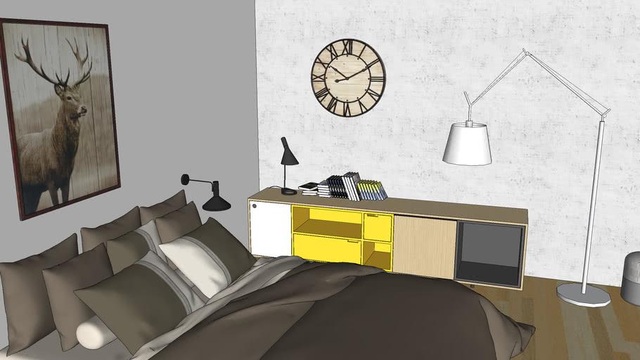 camera moderna arredata concrete