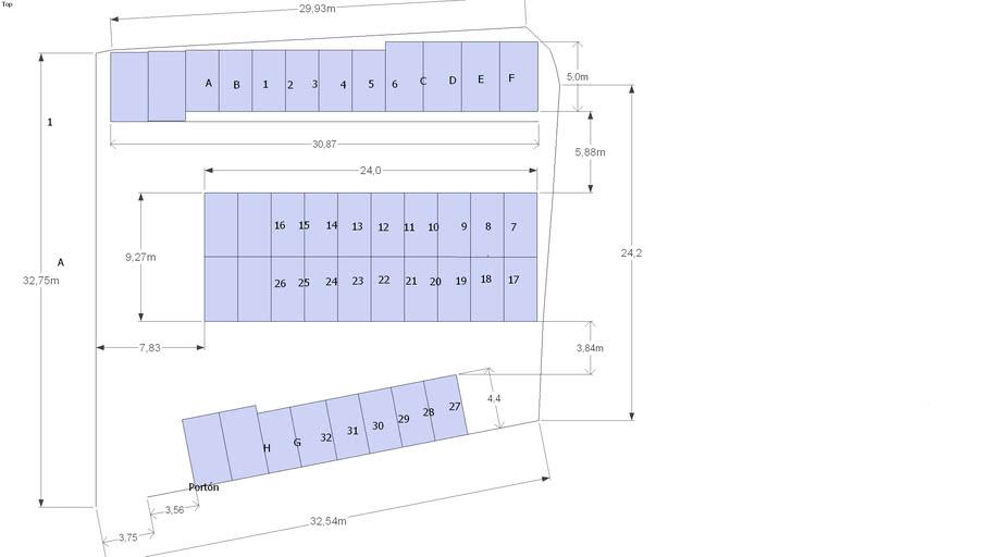 diseño de un parqueo en un terreno irregular