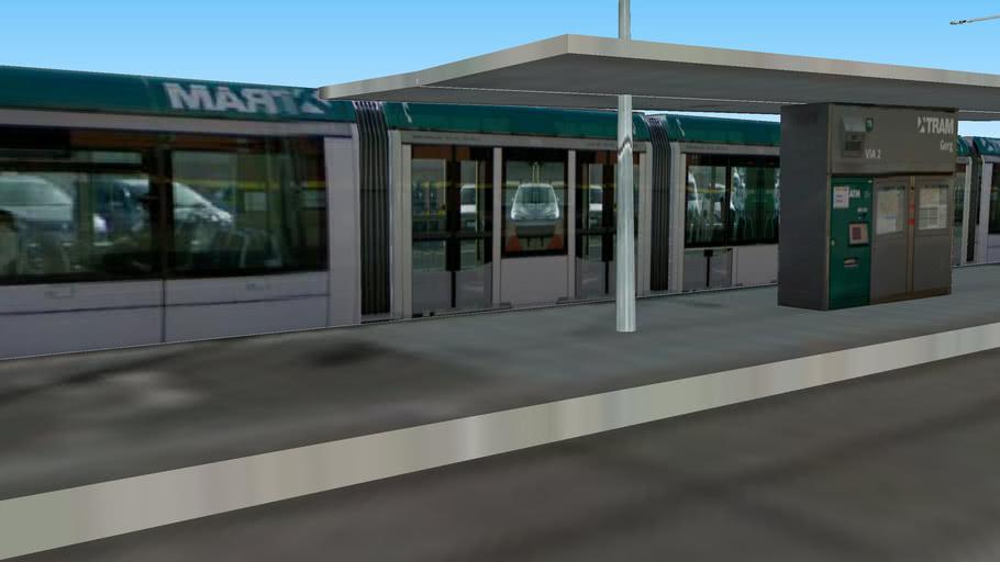 Tram on stop