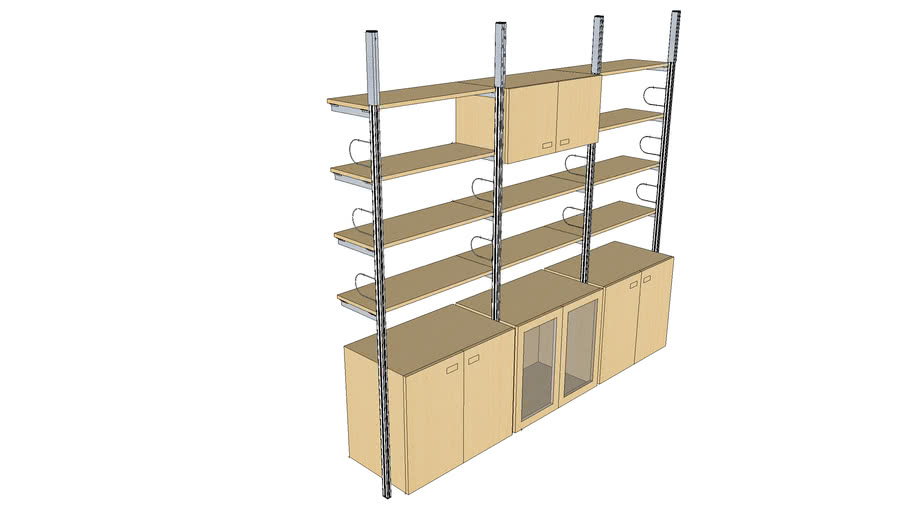 ISS Designs Modular Shelving -Compression System with Glass door cabinet