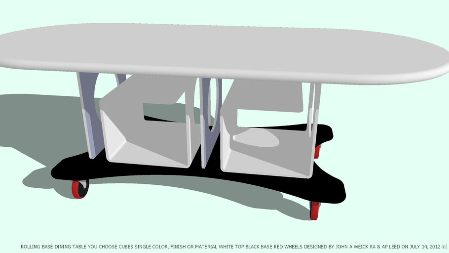 TABLE DINING YOU CHOOSE CUBES COLOR BLACK WHITE TOP BY JOHN A WEICK RA