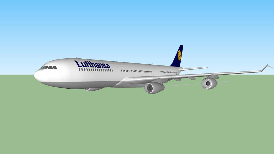Lufthansa Airbus A340 cruising over Germany.