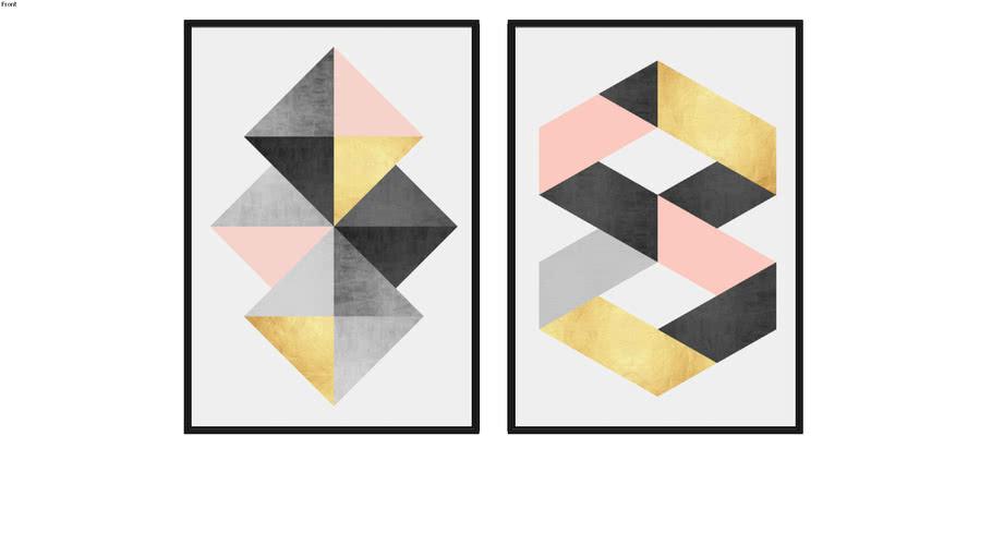 Quadro Geométrico Cinza e Ouro I e Geométrico Cinza e ouro II