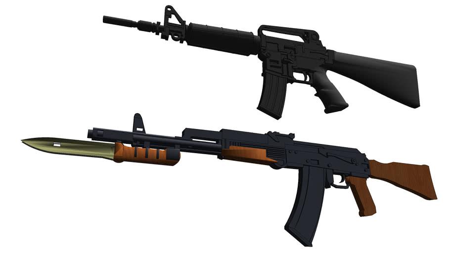 M16 and AK47 Assault Rifles