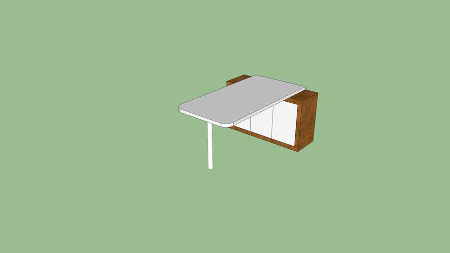 Mesa de parede com armário