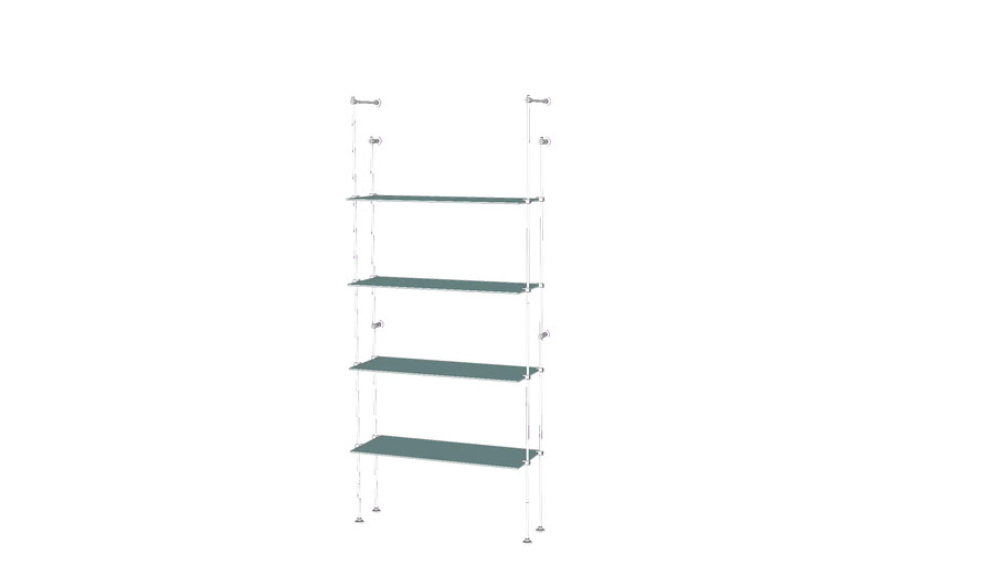 Tube Outrigger - 4 Glass Shelves - Base Unit