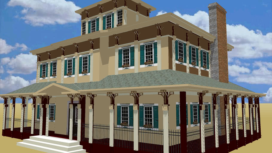 PLAN 0ABI- Italianate, large 3-story house.