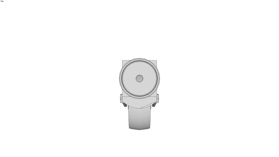 Roulette charge moyenne pivotante � trou central - Roulement lisse - Avec frein arri�re