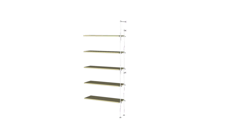 Tube Outrigger - 5 Wood shelves -  Add-on Unit