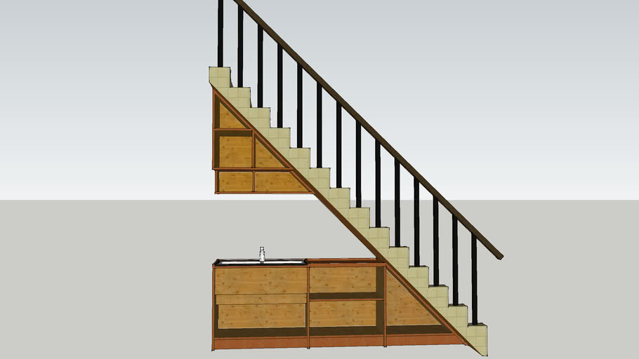 Stair with sink