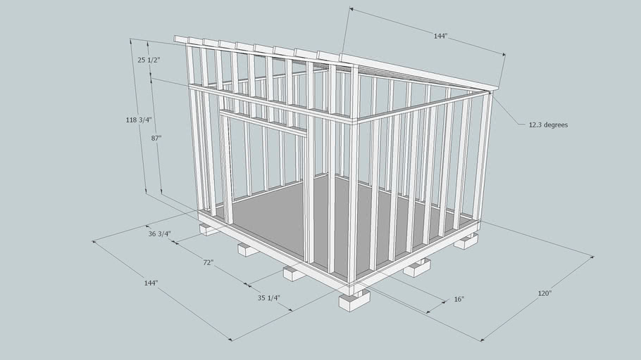 Basic Shed Wood Frame Only With Dimensions 3d Warehouse