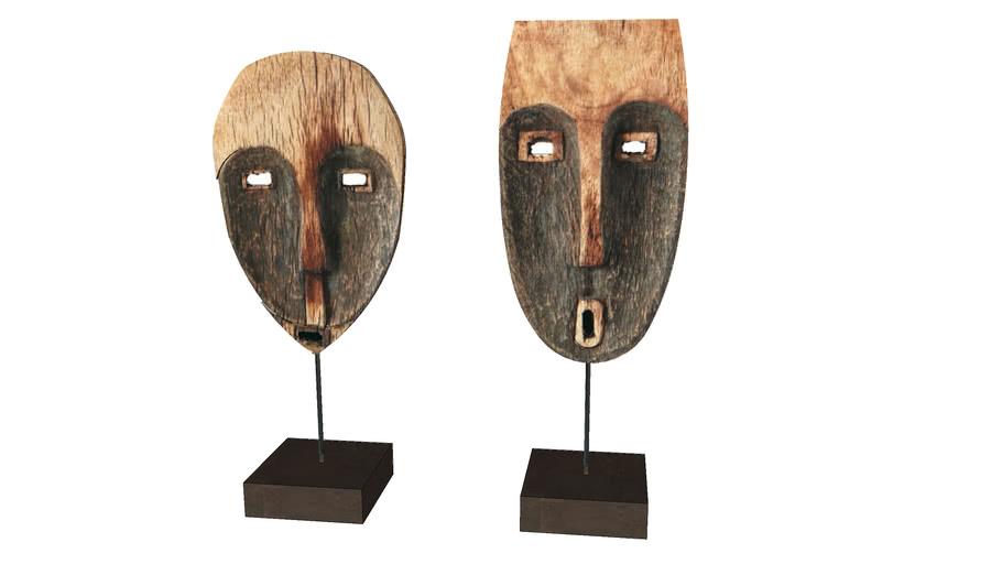 Wooden masks on a tripod