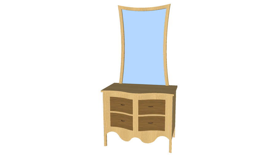 4 Drawer Dresser with Mirror - Detailed