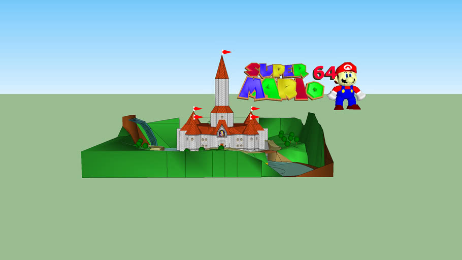 Super Mario 64 castle with interior