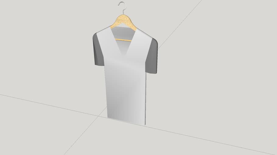 Designer V-neck T-shirt on Wood Hanger