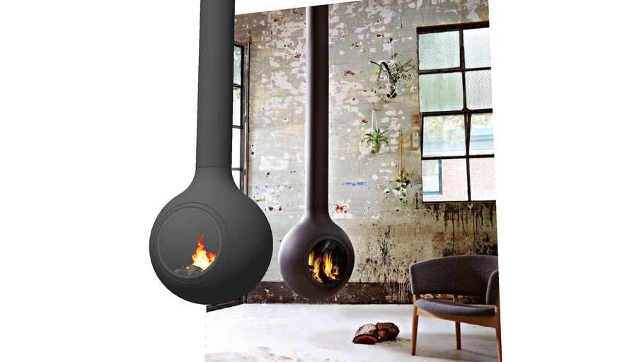Modern hanging ball fireplace