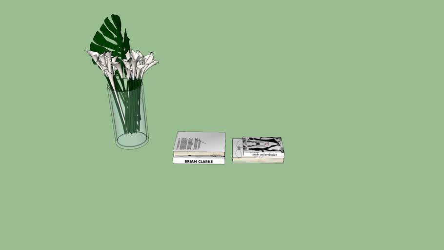 Vaso e livros