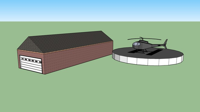 garage and helicopter