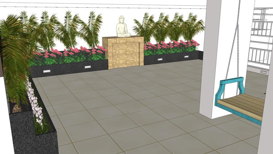 Terrace Garden Exterior Landscaping Plants Flower Beds Lawn