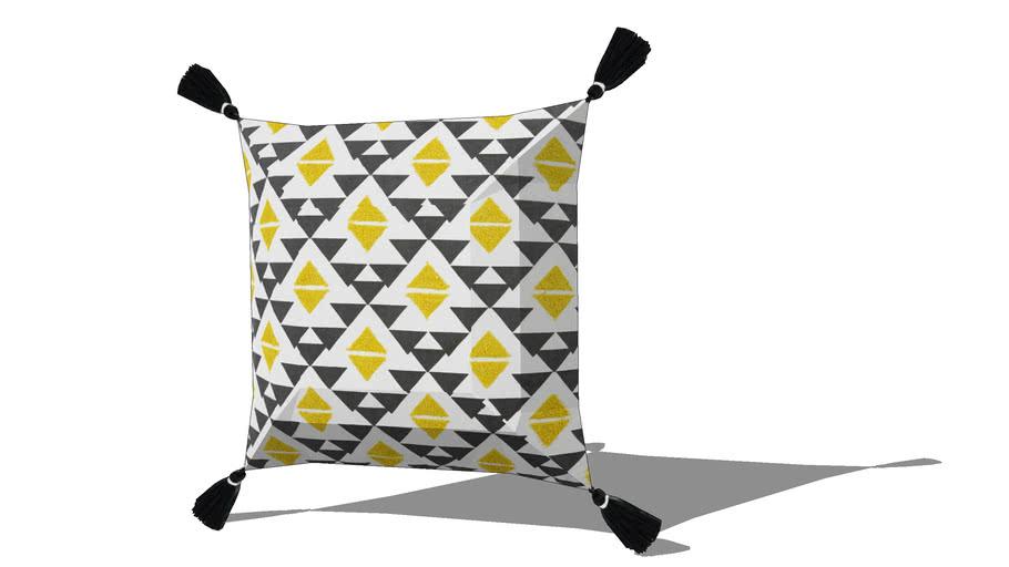Coussin en coton noir et jaune 45x45cm JANGAL REF 168205 PRIX 25.90€