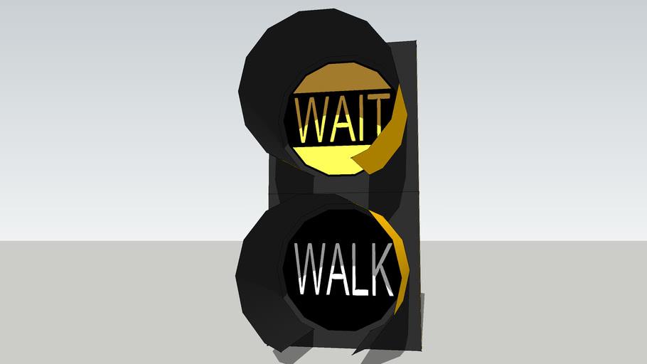 Wait / Walk pedestrean signal black and yellow.