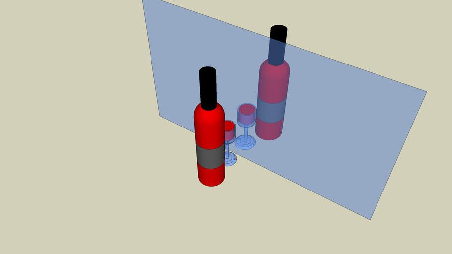 fles wijn + weerspiegeling