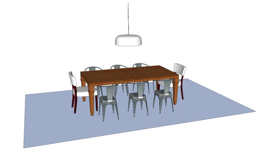 table bois à rallonge, chaises metal, chaises rembourées, deux suspensions Flos