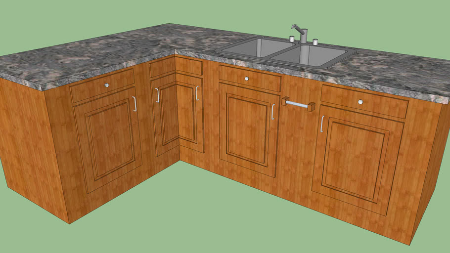 Kitchen Counter with Double Sink
