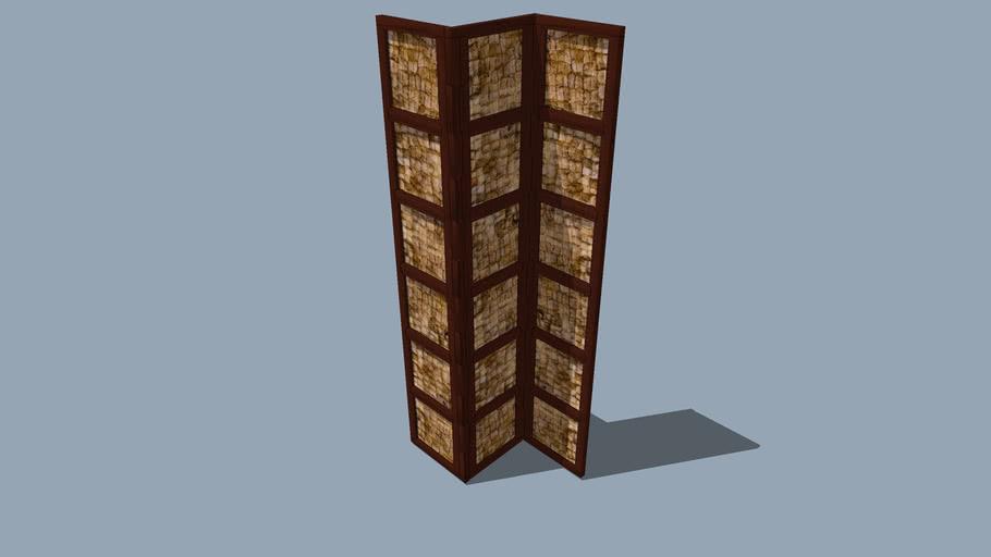 3 Panel Folding Screen w/ Interlocked Frames