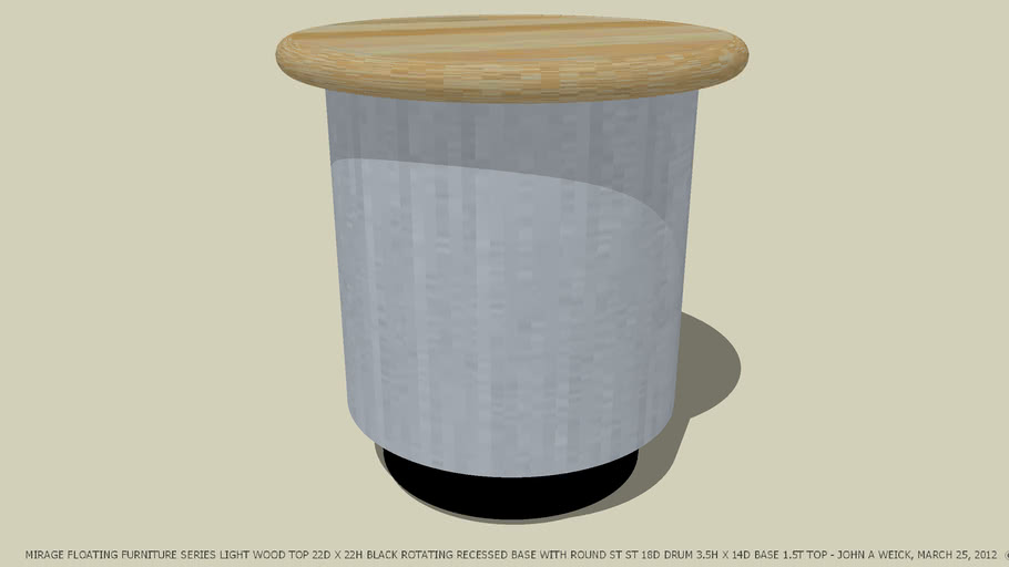 END TABLE ST ST DRUM LIGHT WOOD TOP COLOR DESIGNED BY JOHN A WEICK RA