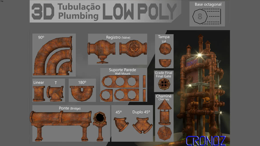 3D pipes low poly by CRonoz