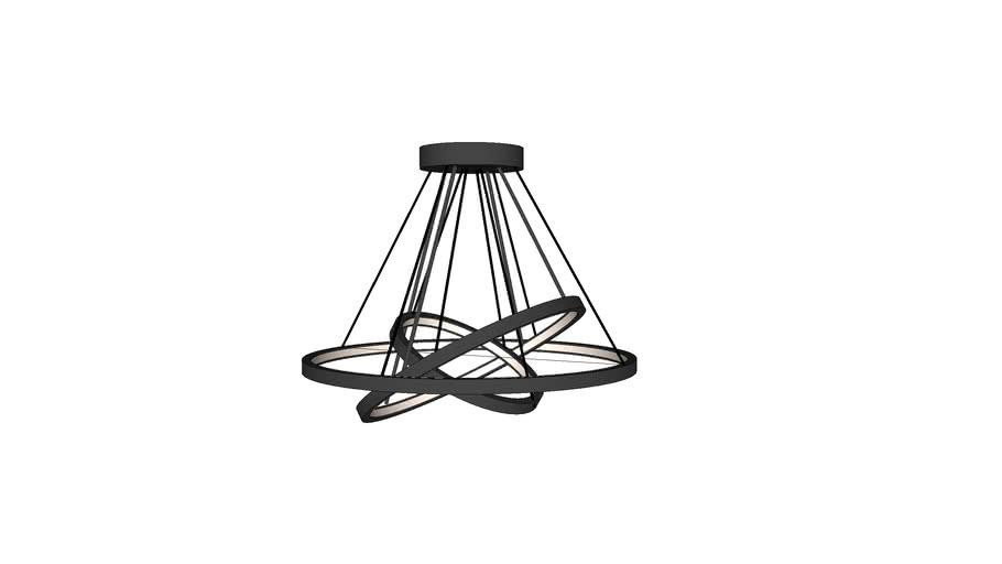 Derrow 3 Light Led Unique Statement Geometric Chandelier 3d Warehouse