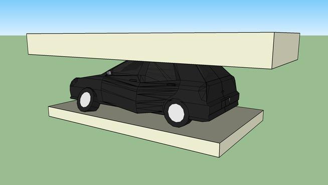 Auto compacto de 4 puertas en la trituradora