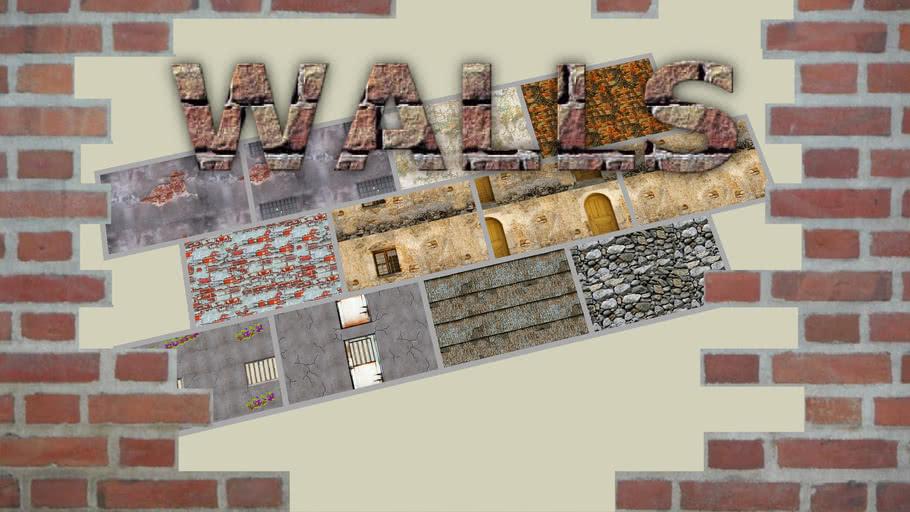 """Walls"" Material Bonus Pack (12 seamless tileable textures) [read descripton]"