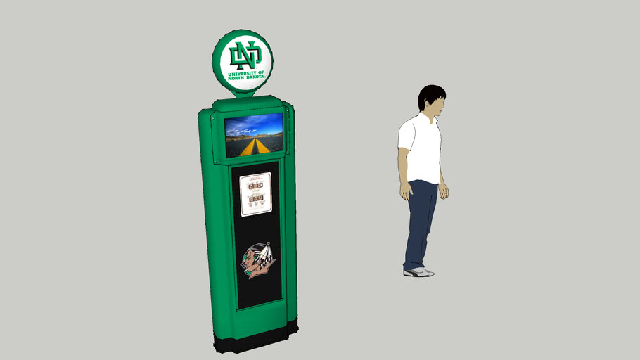 University of North Dakota Themed Wall Relief Replica Gas Pumps