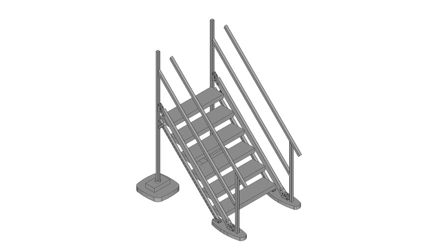 Walraven BIS Yeti® -  (LS-type) low stairs module to combine with Straight platform, H120_W100_A45
