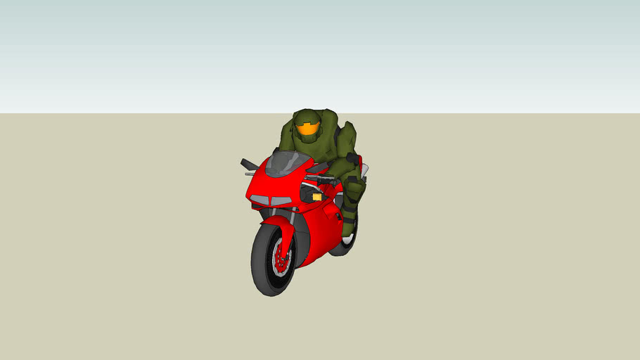 Master chief learns to ride Motobike