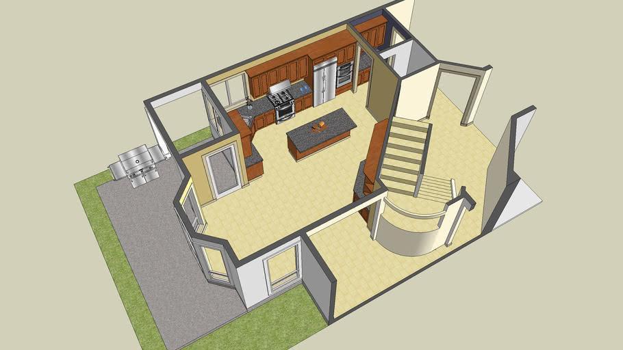 3D Kitchen Model of Plan 2201J from Alan Mascord Design Associates