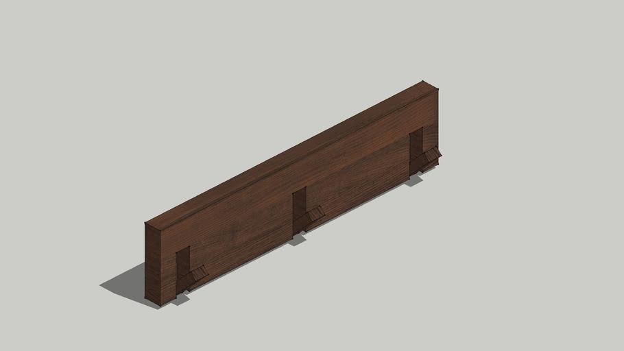 MUJI 壁に付けられる家具 Walnut wood Triple hanger