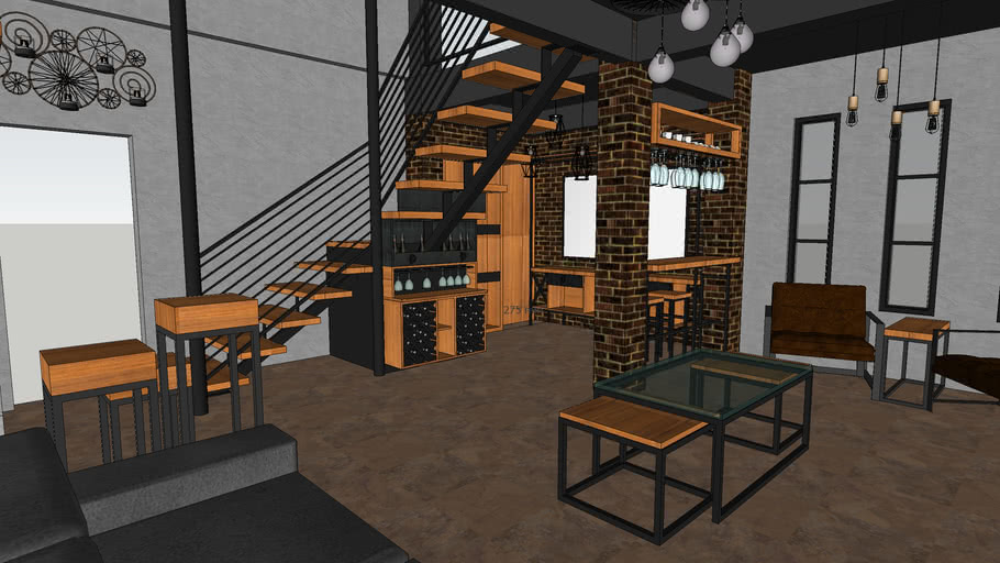 Industrial Living Room With Mini Bar, Mini Bar For Living Room