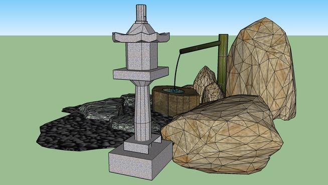 蹲踞石組含石燈籠
