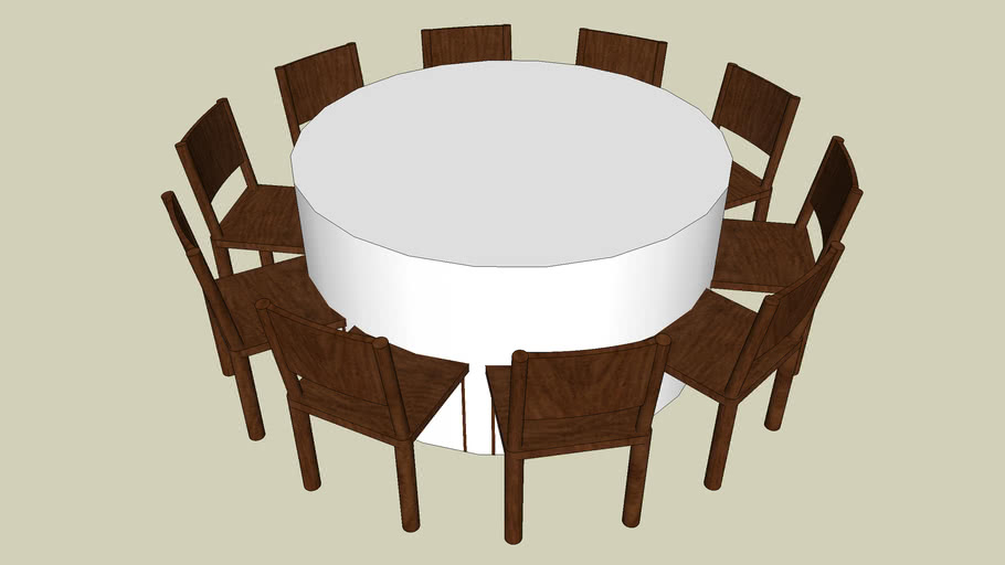 60 Round With 10 Chairs 3d Warehouse