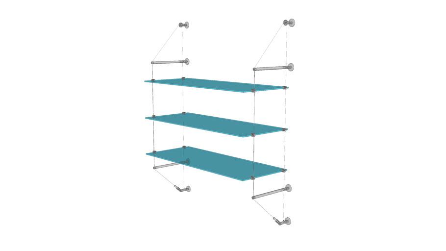 Cable Wall Unit - 3 Glass Shelves - Base
