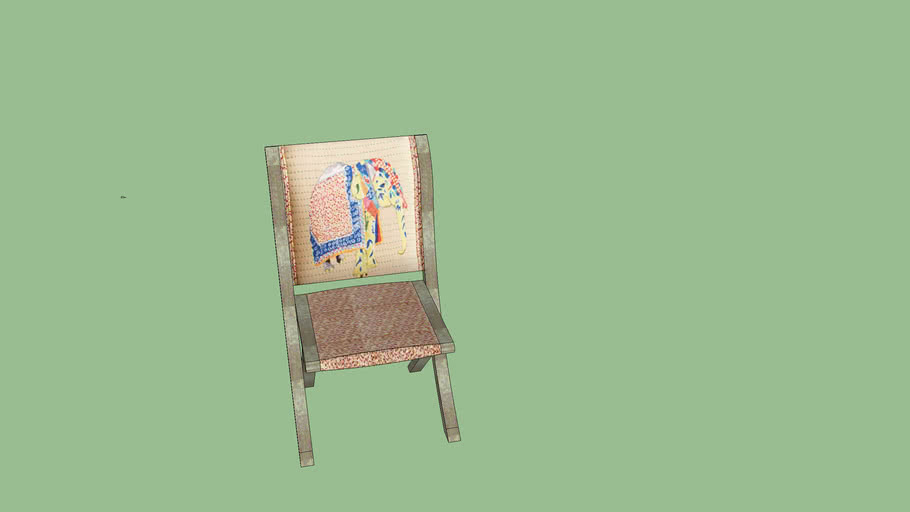 ANT -  Elephant Appliqué Terai Folding Chair