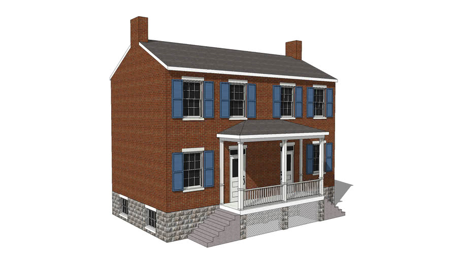 Greek Revival Two-Door House