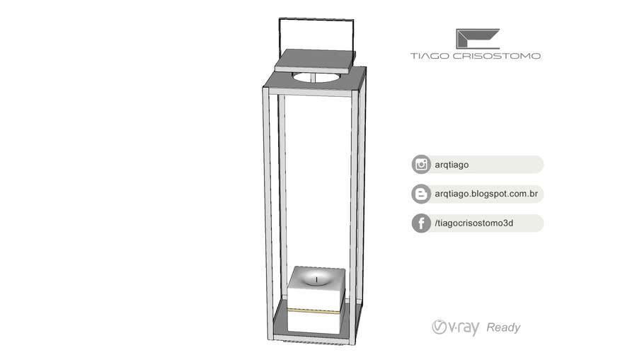 Lanterna de Piso 80cm Inox