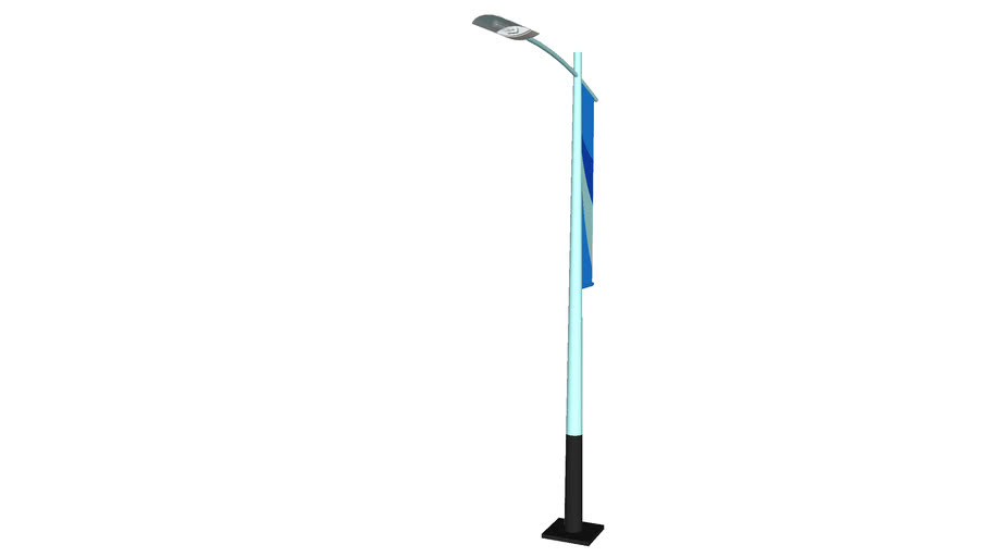 Street Light with Banner - Detailed